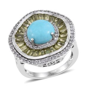 Arizona Sleeping Beauty Turquoise, Hebei Peridot, White Zircon Platinum Over Sterling Silver Statement Ring (Size 8.0) TGW 6.57 cts.