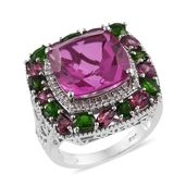 Radiant Orchid Quartz, Multi Gemstone Platinum Over Sterling Silver Ring (Size 7.0) TGW 16.87 cts.