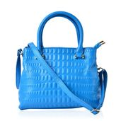 J Francis - Scuba Blue Genuine Leather Tote Bag (11.5x4.5x8.5 In)
