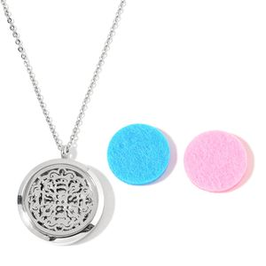 Stainless Steel Locket Pendant With Chain (24 in) and Set of 2 Blue and Pink Cotton Pads