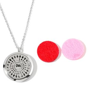 Stainless Steel Locket Pendant With Chain (24 in) and Set of 2 Red and Pink Cotton Pads