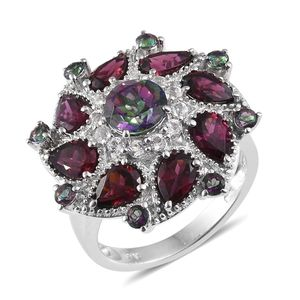 Northern Lights Mystic Topaz, Orissa Rhodolite Garnet, White Topaz Platinum Over Sterling Silver Statement Ring (Size 7.0) TGW 7.06 cts.