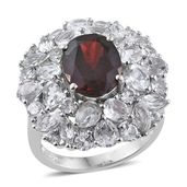 Mozambique Garnet, White Topaz Platinum Over Sterling Silver Ring (Size 8.0) TGW 13.18 cts.