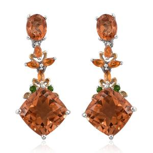 Imperial Quartz, Russian Diopside, Jalisco Fire Opal 14K YG and Platinum Over Sterling Silver Dangle Earrings TGW 20.17 cts.