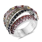 Multi Sapphire Platinum Over Sterling Silver Openwork Criss Cross and Loop Statement Ring (Size 10.0) TGW 7.65 cts.