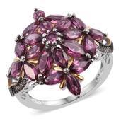 Orissa Rhodolite Garnet 14K YG and Platinum Over Sterling Silver Floral Ring (Size 6.0) TGW 7.250 cts.