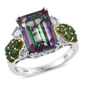 Northern Lights Mystic Topaz, White Topaz, Russian Diopside 14K YG and Platinum Over Sterling Silver Ring (Size 7.0) TGW 10.19 cts.