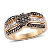 Champagne Diamond, Diamond 14K YG Over Sterling Silver Ring (Size 9.0) TDiaWt 0.50 cts, TGW 0.50 cts.