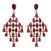 Niassa Ruby 14K YG Over Sterling Silver Chandelier Earrings TGW 14.71 cts.