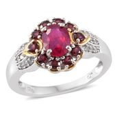 Niassa Ruby, Orissa Rhodolite Garnet, White Zircon 14K YG and Platinum Over Sterling Silver Ring (Size 10.0) TGW 2.73 cts.