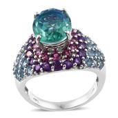 Peacock Quartz, Multi Gemstone Platinum Over Sterling Silver Cluster Ring (Size 7.0) TGW 13.16 cts.