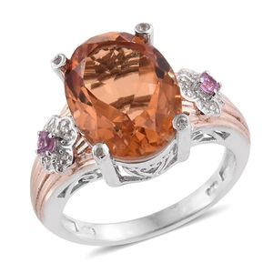 Imperial Quartz, Madagascar Pink Sapphire, White Zircon 14K RG and Platinum Over Sterling Silver Ring (Size 11.0) TGW 10.84 cts.