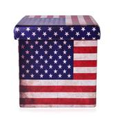 American Flag Faux Leather Collapsible Storage Ottoman (15x15x15in)