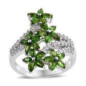 Russian Diopside, White Zircon Platinum Over Sterling Silver Floral Ring (Size 10.0) TGW 3.95 cts.