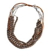 Brown Wooden Beads Multi Strand Necklace on Brown Cord (28 in)
