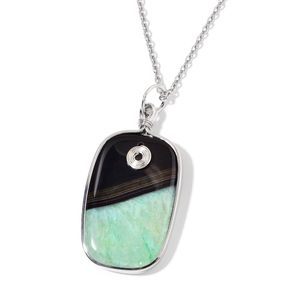 Green Agate Silvertone Pendant With Stainless Steel Chain (24 in) TGW 150.00 cts.