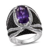 Amethyst, Thai Black Spinel, White Zircon Platinum Over Sterling Silver Elongated Ring (Size 7.0) TGW 10.39 cts.