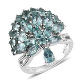 Madagascar Paraiba Apatite, White Zircon Platinum Over Sterling Silver Crown Charm Ring (Size 6.0) TGW 6.45 cts.