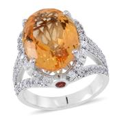 Brazilian Citrine, Red Sapphire, White Zircon Sterling Silver Split Statement Ring (Size 6.0) TGW 12.470 cts.