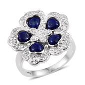 Lapis Lazuli Platinum Bond Brass Floral Ring (Size 7.0) TGW 2.75 cts.