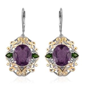 Purple Fluorite, Russian Diopside 14K YG and Platinum Over Sterling Silver Lever Back Earrings TGW 12.00 cts.