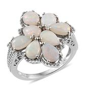 Australian White Opal Platinum Over Sterling Silver Ring (Size 6.0) TGW 2.66 cts.