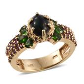 Ethiopian Sable Welo Opal, Russian Diopside, Orissa Rhodolite Garnet 14K YG Over Sterling Silver Ring (Size 6.0) TGW 3.62 cts.