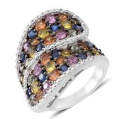 Multi Sapphire Sterling Silver Bypass Ring (Size 8.0) TGW 6.000 cts.