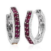 Burmese Ruby 14K YG and Platinum Over Sterling Silver Geometric Huggie Hoop Earrings TGW 0.880 Cts.