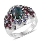 Ethiopian Sable Welo Opal, Multi Gemstone Platinum Over Sterling Silver Ring (Size 7.0) TGW 5.00 cts.