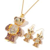 Multi Color Austrian Crystal Goldtone Teddy Bear Earrings and Pendant With ION Plated YG Stainless Steel Chain (24 in)