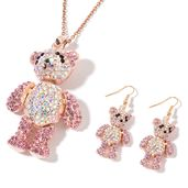 Multi Color Austrian Crystal Rosetone Teddy Bear Earrings and Pendant With ION Plated RG Stainless Steel Chain (24 in)