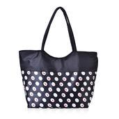 Black with White Polka Dot Print Tote Bag (21x6.5x14 in)