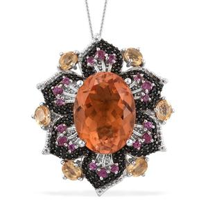 Imperial Quartz, Multi Gemstone Platinum Over Sterling Silver Pendant With Chain (20 in) TGW 13.13 cts.