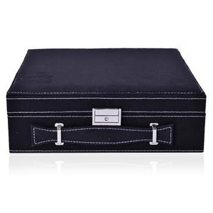 Black Velvet 2 Tier 23 Sections Jewelry Box with Anti Tarnish treated lining, Store Approx 60 Rings, 10 Necklaces, 3 Bracelets and 10 Open Sections (10x10x3 in)