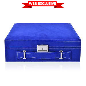 TLV Royal Blue Velvet Briefcase Style 2-Tier Jewelry Box with Anti-Tarnish and Scratch Protection Interior (Approx 60 Rings, etc) (10x3x10 in)