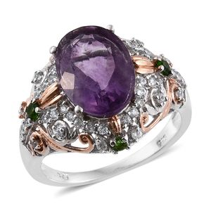 Purple Fluorite, Russian Diopside, White Zircon 14K RG and Platinum Over Sterling Silver Ring (Size 7.0) TGW 7.57 cts.