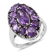 Lusaka Amethyst, Thai Black Spinel Platinum Over Sterling Silver Ring (Size 8.0) TGW 6.480 cts.