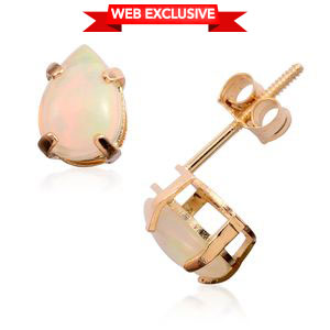14K YG Ethiopian Welo Opal Pear Stud Earrings TGW 0.75 cts.