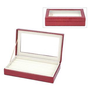 Burgundy Faux Leather Dragon Skin Pattern Jewelry Box (10.1x6x2.2 in) TGW 250.000 cts.
