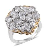 J Francis - 14K YG and Platinum Over Sterling Silver Cluster Ring Made with SWAROVSKI ZIRCONIA (Size 5.0) TGW 9.44 cts.