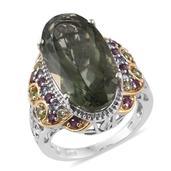 Montezuma Prasiolite, Multi Gemstone 14K YG and Platinum Over Sterling Silver Ring (Size 8.0) TGW 20.52 cts.