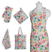 Summer Time Flamingo Print Kitchen Set- Apron with Pockets, Kitchen Towel, Pot Holder and Oven Mit with Matching Bag (17.5x14 in)