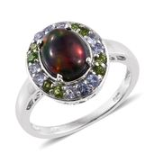 Ethiopian Sable Welo Opal, Russian Diopside, Tanzanite Platinum Over Sterling Silver Ring (Size 9.0) TGW 2.60 cts.