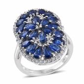 Himalayan Kyanite, White Zircon Platinum Over Sterling Silver Elongated Ring (Size 6.0) TGW 5.56 cts.