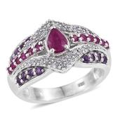 Burmese Ruby, Amethyst, White Zircon Platinum Over Sterling Silver Ring (Size 6.0) TGW 1.87 cts.