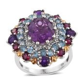 Purple Fluorite, Multi Gemstone 14K YG and Platinum Over Sterling Silver Statement Ring (Size 9.0) TGW 9.80 cts.