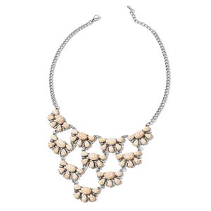 White Howlite Silvertone Statement Necklace (18 in) TGW 250.000 Cts.