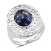 KARIS Collection - Sodalite Platinum Bond Brass Pierced Ring (Size 7.0) TGW 4.58 cts.