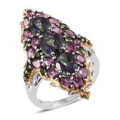 Northern Lights Mystic Topaz, Orissa Rhodolite Garnet, Russian Diopside 14K YG and Platinum Over Sterling Silver Elongated Ring (Size 5.0) TGW 9.47 cts.